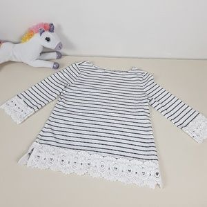 White & Black Striped 3/4 Sleeve Lace Accents Top